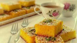 طرز تهیه کیک شربتی زعفرانی خوشمزه به روش قزوینی {کیک باقلوا}