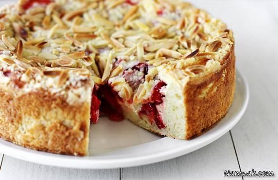 آموزش و دستور پخت کیک داغ بادام و گیلاس