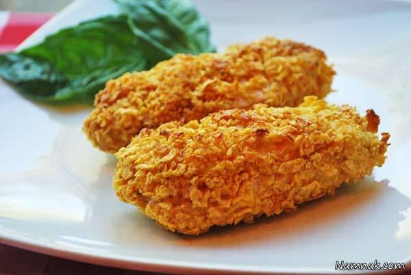 آموزش پخت ناگت مرغ و ذرت